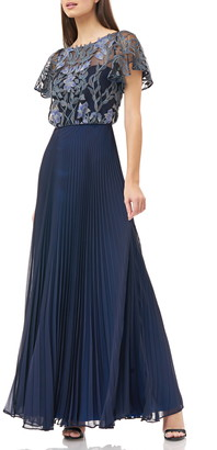 JS Collections Embroidered Illusion Bodice Pleated Gown