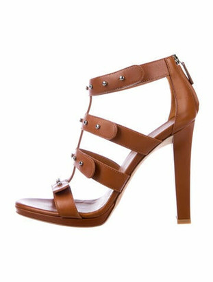 Gucci Leather Studded Accents Gladiator Sandals Brown