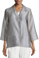 Caroline Rose Occasion Organza Easy Shirt, Platinum