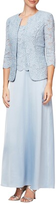 Alex Evenings Embroidered Lace Mock Two-Piece Gown with Jacket