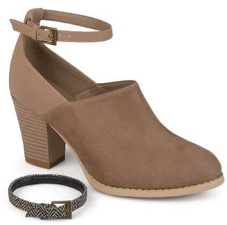Brinley Co. Womens Ankle Strap Faux Suede Faux Leather Wood Stacked Booties