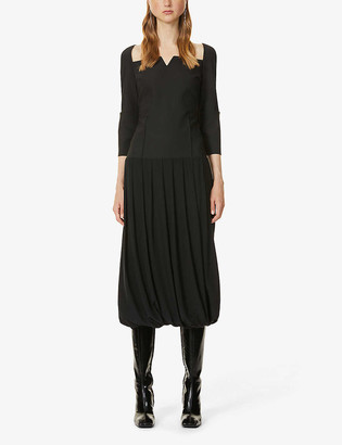 BEVZA Square-neck pleated-skirt wool and satin midi dress