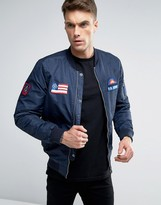 Pull&bear Bomber Jacket With Badging Detail In Navy