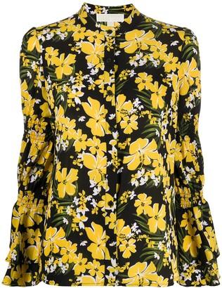MICHAEL Michael Kors Floral Print Smocked-Sleeve Shirt
