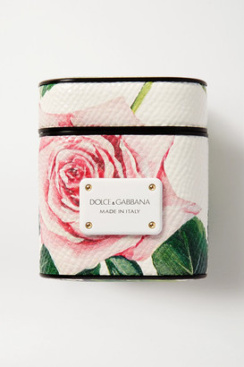 Dolce & Gabbana Floral-print Textured-leather Airpods Case - White
