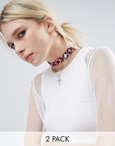 Asos Multirow Bandana Choker Necklace