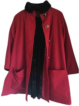 Saint Laurent Red Cotton Coat for Women Vintage