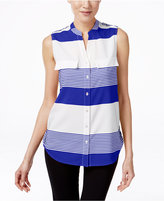 NY Collection Sleeveless Striped Utility Shirt