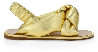 Miu Miu Knotted Metallic Leather Slingback Sandals