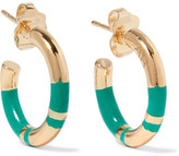 Aurelie Bidermann Positano Enameled Gold-plated Hoop Earrings - one size
