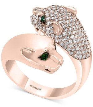 Effy Diamond (7/8 ct. t.w.) & Emerald (1/10 ct. t.w.) Big Cat Bypass Statement Ring in 14k Rose Gold