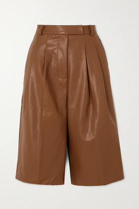 Frankie Shop - Pernille Pleated Faux Leather Shorts - Brown