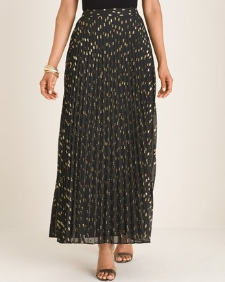 Chico's Chicos Clip Dot Pleated Maxi Skirt
