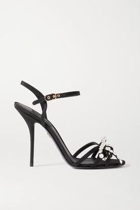 Dolce & Gabbana Crystal-embellished Bow-detailed Grosgrain Sandals - Black