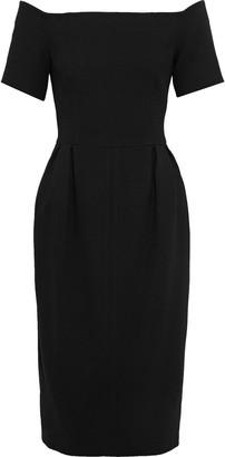 Fendi Off-the-shoulder Pleated Wool-crepe Dress