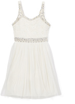 Speechless White Rhinestone Lace Dress - Girls