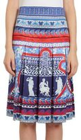 Mary Katrantzou Gheia Pleated Roman-Print Silk Skirt