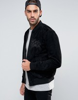 Asos Suede Bomber Jacket With Embroidery In Black