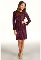 Donna Morgan Kenzie Drop Torso Print Dress (Navy/Poppy) - Apparel