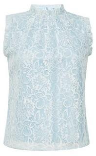 Dorothy Perkins Womens Billie & Blossom Petite Blue Lace Ruffle Shell Top, Blue