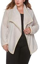 Vanilla Faux Fur Draped Open Jacket - Plus