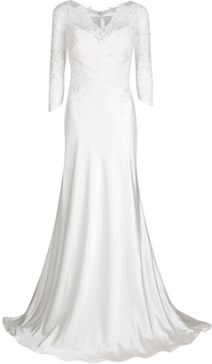 Justin Alexander Ivory Venice Lace and Charmeuse Bridal Gown L