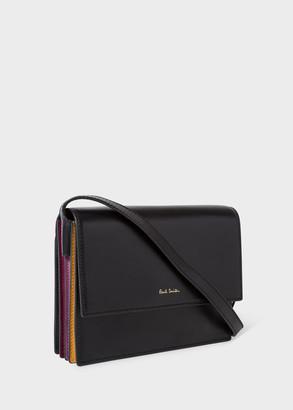 Womens Black Concertina Leather Box Cross-Body Bag