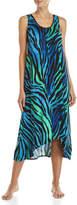 Ellen Tracy Sleeveless Zebra Print Midi Nightgown