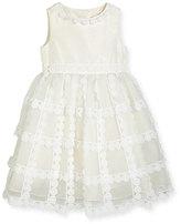 Oscar de la Renta Dahlia Tiered Silk Organza Dress, White, Size 2-14