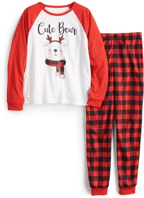 Cuddl Duds Girls 4-16 Jammies For Your Families Cool Bear Top & Pants Pajama Set