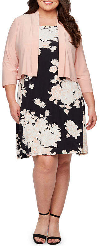 3-4 Sleeve Floral Puff Print Jacket Dress-Plus