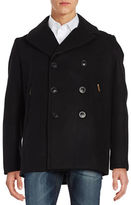 Karl Lagerfeld Studded Leather-Trimmed Peacoat