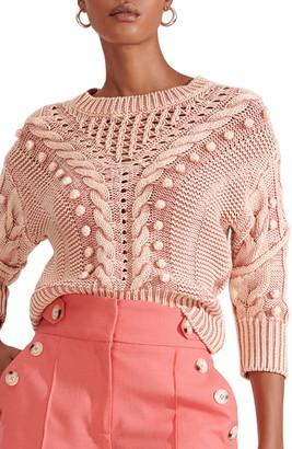 Veronica Beard Eleanor Pompom Cable Cotton Sweater