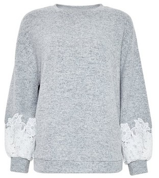 Dorothy Perkins Womens Grey Lace Sleeve Jumper, Grey