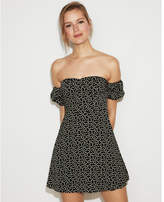 Express off the shoulder puff sleeve fit and flare dress
