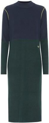 Tory Sport Color-block cashmere-blend dress