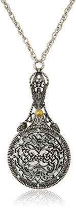 1928 Jewelry Womens Mirror with Sliding Filigree Cover Necklace Pendant Enhancer