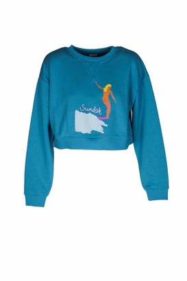 Sundek Short Sweatshirt with Made in Italy Print - Turquoise - S