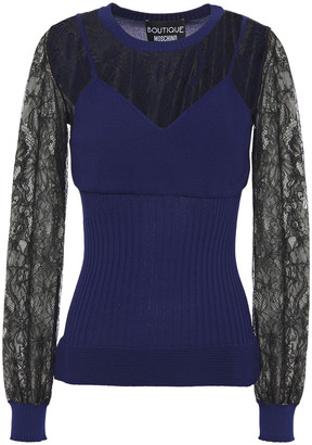 Boutique Moschino Lace-layered Two-tone Knitted Top