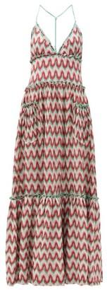 Missoni Tiered Zigzag-knit Maxi Dress - Red Multi