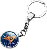 Jiayiqi Guardians of the Galaxy Film Logo Glass Rhinestone Pendant Keychains Accessory