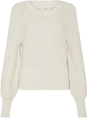 ST. AGNI Maiko Waffle-Knit Cotton Puff-Sleeve Sweater