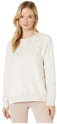 True Grit Dylan by Dream Sherpa Ultra Soft Scattered Stars Sweatshirt (Natural/Gold) Women's Clothing