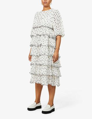 Ganni Polka dot recycled-polyester midi dress