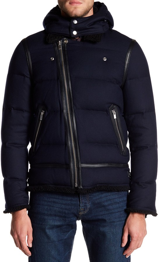 The Kooples Leather Trim Quilted Biker Coat