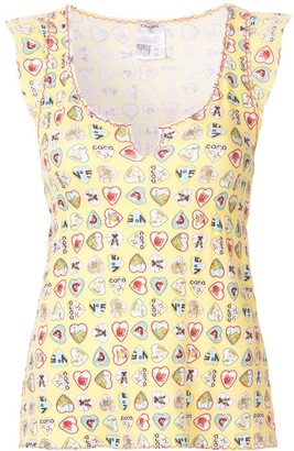Chanel Pre Owned Valentine frilled sleeveless blouse