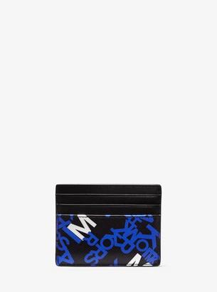 Michael Kors Brooklyn Tall Graphic Logo Crossgrain Leather Card Case