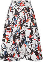 Jason Wu Pleated Printed Cotton-poplin Skirt - White