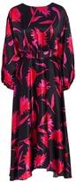 Saloni Kim B Floral Silk Midi Flare Dress