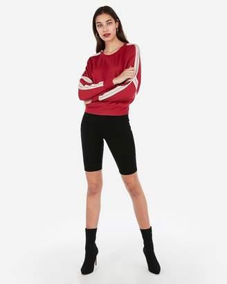 Express Crew Neck Varsity Stripe Sweatshirt